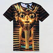 Camiseta De los hombres Estampado-Casual-Algodón-Manga Corta-Multicolor
