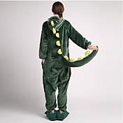 Kigurumi Pyžama Dinosaurus Leotard/Kostýmový overal Pantofle Festival/Svátek Animal Sleepwear Halloween Zelená Patchwork Coral Fleece