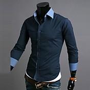 zian®メンズシャツの襟のファッションネクタイ装飾ビジネスカジュアル長袖シャツO