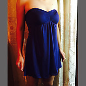 Mujer Línea A Vestido Fiesta/Cóctel Sexy,Un Color Sin Tirantes Mini Sin Mangas Algodón Licra Para Todas las Temporadas Elástico Opaco Fino