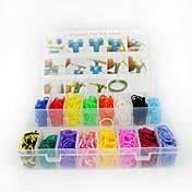 3200pcs color del arco iris del estilo telar twistz DIY pulseras de goma de silicona establecen con 1 paquete s-clips 16 colores