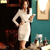 レディース ドレス,ソリッド 膝上 長袖 ポリエステル 秋 伸縮性あり スモーキー ミディアム