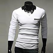thaihoo cuello redondo de color sólido camiseta de los hombres