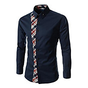 Men's Fashion Leisure Code Splicing Sleeved Shirt