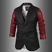 charelsメンズ韓国のコントラストカラーシンプルな因果スリムコート革の服