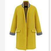 solo boutton medio abrigo de lana largo