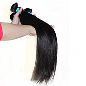 人毛 ペルービアンヘア 人間の髪編む ストレート ヘアエクステンション 1個 ブラック