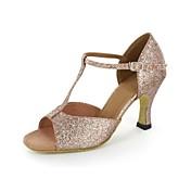sandály v Latinské dámské šumivé třpytky jehlové paty Buckie taneční obuv