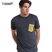 lesmart la moda alrededor del cuello de manga corta camiseta de los hombres