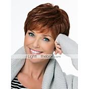 Mujer Pelo humano pelucas sin tapa Morrón Oscuro Corto Corte Pixie Corte a capas Con flequillo Parte lateral