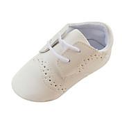 男の子 赤ちゃん フラット 赤ちゃん用靴 幼児用靴 レザーレット 春 秋 冬 カジュアル 編み上げ フラットヒール ホワイト ブラウン 1インチ以下