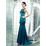 マーメイド/トランペットVネックの床の長さストレッチサテンフォーマルイブニングドレス