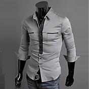 男性用 ストライプ / チェック / プレイン カジュアル シャツ,長袖 コットン混 ブルー / レッド / ホワイト / グレー