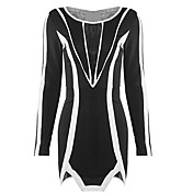 g.diao女性のヨーロッパのコントラストカラー長袖のドレス