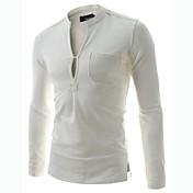 男性用 プレイン カジュアル Tシャツ,長袖 コットン混,ブラック / ホワイト / グレー