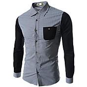 男性用 カジュアル シャツ,長袖 コットン / コットン混 ブラック / ブルー