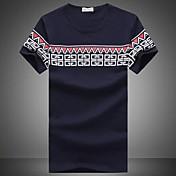 MEN Tシャツ ( コットン/ライクラ/ポリエステル ) カジュアル/パーティー/仕事 ラウンド - 半袖