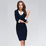 Vestidos ( Algodón Compuesto/Prendas de punto )- Sexy/Bodycon/Trabajo Cuello de camisa/Escote en V ¾ Manga para Mujer
