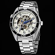 Hombre Reloj de Vestir El reloj mecánico Cuerda Automática Resistente al Agua Piel Banda Plata Blanco Negro Azul