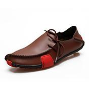 Hombre Zapatos Cuero Primavera Verano Otoño Confort Zapatos de taco bajo y Slip-On Con Cordón Para Casual Gris Negro y Blanco Marrón