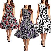 Vestidos ( Algodón Compuesto/Poliéster )- Casual/Impresión/Bonito/Fiesta Redondo Sin Mangas para Mujer
