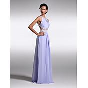 Funda / Columna Hasta el Suelo Raso Baile de Promoción Evento Formal Vestido con Cuentas Recogido Lateral por TS Couture®