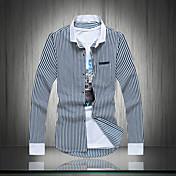 男性用 ストライプ カジュアル / プラスサイズ シャツ,長袖 コットン ブラック / ブルー / レッド
