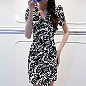 WOMEN - ボディコン/カジュアル - ドレス ( コットン ラウンド - 半袖