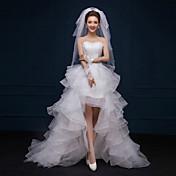 a-lineウェディングドレス小さな白いドレス非対称恋人レースレースフリル