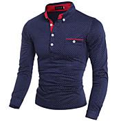 Camisa De los hombres Estampado Casual / Trabajo / Formal / Tallas Grandes-Mezcla de Algodón / Microfibra-Manga Larga-Negro / Azul /