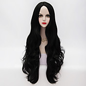 80 cm dlouhá volná zvlněná u část černé vlasy syntetické móda strana elegantní paruka