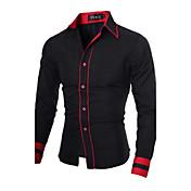 Camisa De los hombres A Rayas / Un Color Casual / Trabajo / Tallas Grandes-Mezcla de Algodón-Manga Larga-Negro / Azul / Rojo / Blanco /