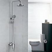 Současné Sprchový systém Dešťová sprcha / Včetne sprchové hlavice with  Keramický ventil Single Handle dva otvory for  Pochromovaný ,