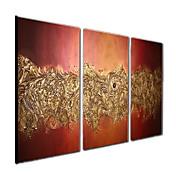 Pintada a mano Abstracto Fantasía Panorámica,Modern Tres Paneles Lienzos Pintura al óleo pintada a colgar For Decoración hogareña
