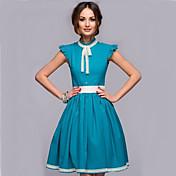 女性 ワーク Aライン ドレス,パッチワーク ラウンドネック 膝上 ノースリーブ ブルー / ホワイト ナイロン 夏 伸縮性なし 薄手