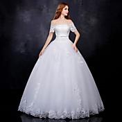 Haljina za haljinu s loptom - klasik& Bezvremenske berba inspirirala podnu duljinu off-the-shoulder lace tulle withappliques