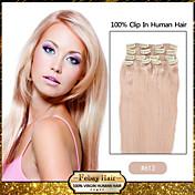 Clip en las extensiones remy del pelo humano (# 613) 8pcs / pack