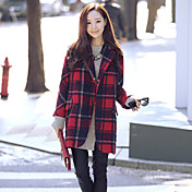 婦人向け 冬 ソリッド / チェック コート,ヴィンテージ シャツカラー レッド コットン 長袖 厚手
