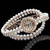 女性用 ファッションウォッチ ブレスレットウォッチ ユニークなクリエイティブウォッチ 模造ダイヤモンド クォーツ 合金 バンド 光沢タイプ ボヘミアンスタイル 真珠 エレガント腕時計 ゴールド
