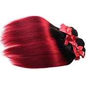 Cabello humano Cabello Brasileño Ombre Liso Extensiones de cabello 1 Pieza Negro / Borgoña