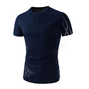 男性用 プレイン カジュアル / オフィス / フォーマル / スポーツ / プラスサイズ Tシャツ,半袖 コットン / ナイロン,ブラック / ブルー / ホワイト