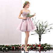 Corte en A Escote Corazón Corta / Mini Tul Fiesta de Cóctel Baile de Promoción Vestido con Flor(es) Detalles con Perlas por HUA XI REN