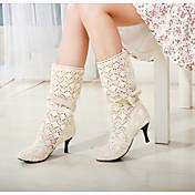 女性-オフィス / ドレスシューズ-チュール-コーンヒール-ラウンドトゥ / ファッションブーツブラック / ブラウン / ホワイト