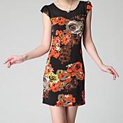 レディース ワーク シース ドレス,フラワー ラウンドネック 膝上 半袖 スパンデックス 春 ミッドライズ マイクロエラスティック