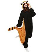 Kigurumi Pijamas Oso Mapache Leotardo/Pijama Mono Festival/Celebración Ropa de Noche de los Animales Halloween Negro Retazos Lana Polar