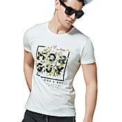 男性用 プリント カジュアル / オフィス / フォーマル Tシャツ,半袖 コットン / スパンデックス,ブルー / ホワイト