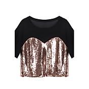 婦人向け カジュアル/普段着 夏 Tシャツ,シンプル / ストリートファッション ラウンドネック パッチワーク ゴールド その他 半袖 ミディアム