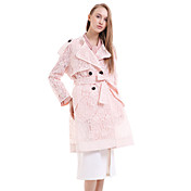 婦人向け カジュアル/普段着 ソリッド トレンチコート,ストリートファッション ノッチドラペル ピンク / ブラック シルク 長袖