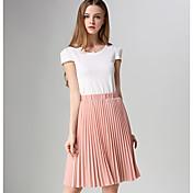 婦人向け カジュアル / シンプル 膝丈 スカート,その他 マイクロエラスティック