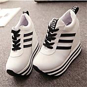 Ženske cipele-Modne tenisice-Ležerne prilike-Platno-Puna potpetica-Pune pete-Crna / Crvena / Bijela